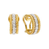 "18k Gold & Diamond ""Raso"" Hoop Earrings"