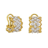 "18k Gold & Diamond ""Rombi"" Hoop Earrings"