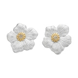 Silver, Gold & Diamond Blossom Stud Earrings