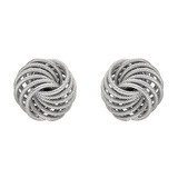 &quot;Spirali&quot; 18k White Gold Button Earclips