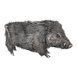 Small Silver Wild Boar Sculpture