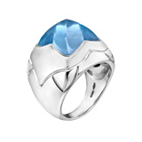 "​18k White Gold & Blue Topaz ""Piramide"" Ring"