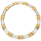 18k Yellow &amp; White Gold Link Collar Necklace