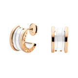 B.Zero1 18k Pink Gold & White Ceramic Earrings