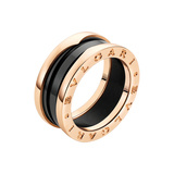 "​18k Pink Gold & Black Ceramic ""B.Zero1"" 2-Band Ring"