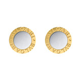 &quot;Bvlgari-Bvlgari&quot; 18k Gold &amp; Steel Disk Earrings