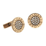 Bvlgari-Bvlgari 18k Pink Gold & Diamond Cufflinks