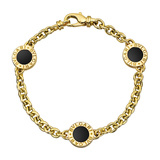 18k Yellow Gold & Black Onyx Station Bracelet