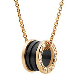 "18k Pink Gold & Black Ceramic ""B.Zero1"" Pendant Necklace"