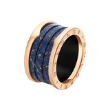 B.Zero1 18k Pink Gold & Blue Marble 4-Band Ring