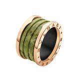 "18k Pink Gold & Green Marble ""B.Zero1"" 4-Band Ring"