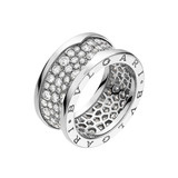 B.Zero1 18k White Gold &amp; Diamond Band Ring