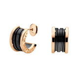 B.Zero1 18k Pink Gold & Black Ceramic Earrings