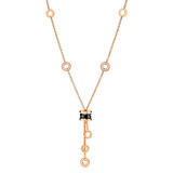 B.Zero1 18k Pink Gold & Black Ceramic Pendant Necklace