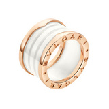 B.Zero1 18k Pink Gold & White Ceramic 4-Band Ring