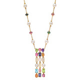 3-Row Multicolored Gemstone Pendant Necklace