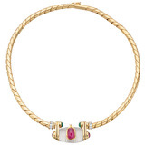 18k Gold & Gem-Set Plaque Choker Necklace