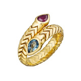 "18k Gold, Ruby & Blue Topaz ""Spiga"" Bypass Ring"
