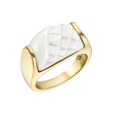 "​18k Yellow Gold & White Ceramic ""Tronchetto"" Ring"