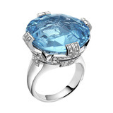 Parentesi Blue Topaz Large Ring with Diamond
