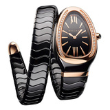 ​Serpenti Spiga Pink Gold & Black Ceramic (102532)