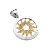 "Tondo ""Sun"" 18k Gold & Steel Pendant with Diamond"
