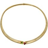 "18k Gold ""Tubogas"" Collar Necklace with Pink Tourmaline & Peridot"