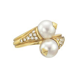 18k Gold, Pearl &amp; Diamond Bypass Ring
