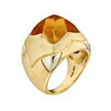"​18k Gold & Citrine ""Piramide"" Cocktail Ring"