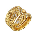 "18k Yellow Gold & Diamond ""Spiga"" Wrap Ring"