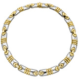 ​18k Yellow & White Gold Link Collar Necklace