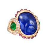 Burmese Sapphire, Emerald & Ruby Cocktail Ring