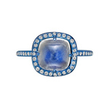 ​Blue Titanium, Moonstone & Diamond Ring