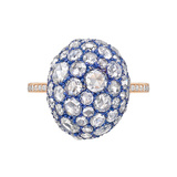 ​Blue Titanium, 18k Gold & Diamond Dome Ring