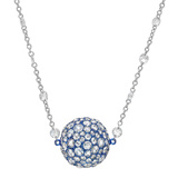 ​Blue Titanium & Diamond Ball Pendant Necklace