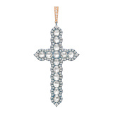 ​Blue Titanium, 18k Gold & Diamond Cross Pendant