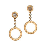 Bvlgari-Bvlgari 18k Pink Gold &amp; Diamond Drop Earrings