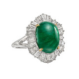 Cabochon ​Emerald & Diamond 'Ballerina' Ring
