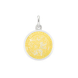 XS Silver St. Christopher Medal with Yellow Enamel