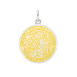 Small Silver St. Christopher Medal with Yellow Enamel