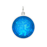 ​Small Silver St. Christopher Medal with Caribbean Blue Enamel