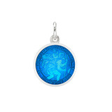 XS Silver St. Christopher Medal with Caribbean Blue Enamel