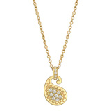 18k Yellow Gold & Diamond Paisley Pendant Necklace