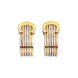 Small ​18k Tricolored Gold 'C' Logo Earclips