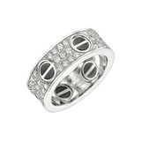 "Diamond & Black Ceramic ""LOVE"" Band Ring"