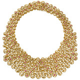 18k Gold, Diamond & Ruby Bib Necklace