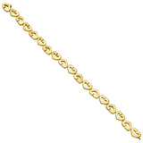 18k Yellow Gold Heart Link Bracelet