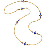 18k Gold & Lapis Chain Long Necklace