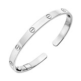"18k White Gold ""Love"" Cuff Bracelet"