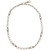 Silver, 18k Gold & Pearl Chain Necklace